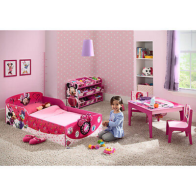 NEW 3 Piece Set Minnie Mouse Wood Toddler Bed, Toy Organizer & Table Chair Set