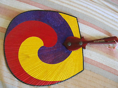 Hyundai automobile advertising promo item colorful hand held fan 1980's