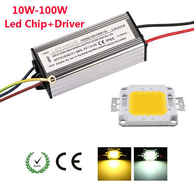 10W 20W 30W 50W 100W LED Power Supply Driver Adapter Waterproof + COB Chip Bulbs