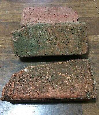 Lot of 3 Identical Very Rare antique street paver 3 Star bricks Kansas Sidewalk