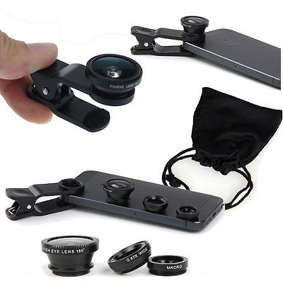 3 in1 Fish Eye+Wide Angle + Macro Camera Clip-on Lens for Universal Phones SP