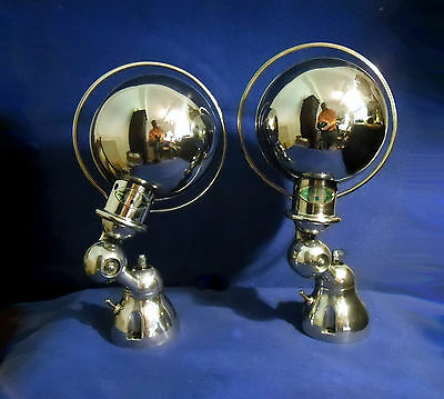 Pair Sconce Jielde Lamp French Industrial Miror Polished Steel Waxed  Protection