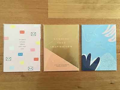 Kikki K Sticker Book Letters Inspiration Creative 3 Set Planner Tags BRAND NEW