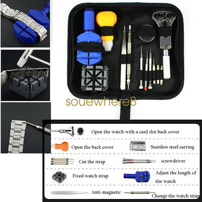 283Pcs Watchmaker Watch Repair Tool Kit Back Case Opener Remover Spring Pin Bar