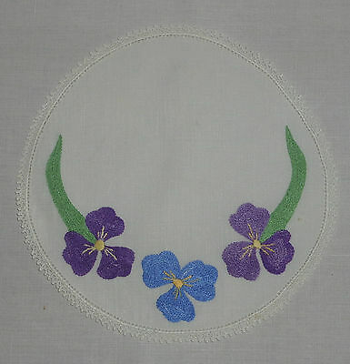 Vintage/antique Embroidered Linen Doilies/doiley Crochet Edge - Pansy Flowers