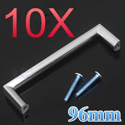 10X 96mm Kitchen Cabinet Bathroom Cupboard Handle Stainless Steel Door Square AU