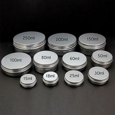 Empty Cosmetic Pots Lip Balm Container Jar Silver Aluminum Tins Spiral Screw Box