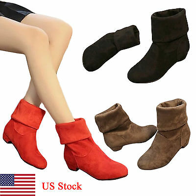 Women's Fashion Shoes Stretchy Faux Suede Low Block Heel Knee High Ankle Boots