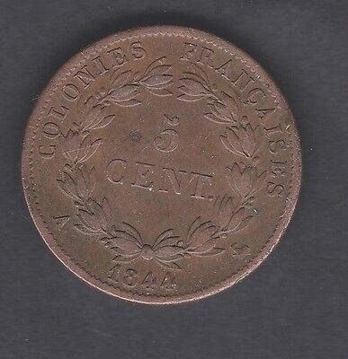 France, French Colonies 5 cent coin 1844 in e/f condition