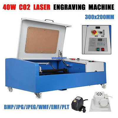 40W CO2 Laser Engraving Cutting Engraver Cutter Machine 300x200mm USB w/ 4 Wheel