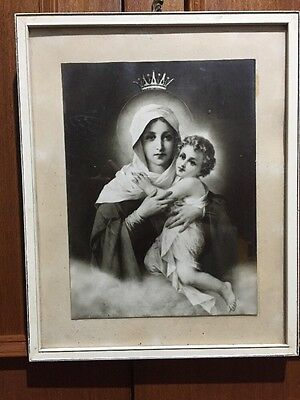 Vintage Holy Picture Mary With Jesus Framed Print