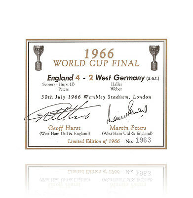 Sir Geoff Hurst & Martin Peters hand signed champagne label - 1966 Autograph