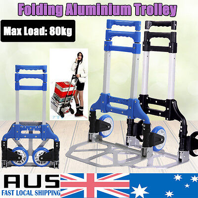 Compact Folding Aluminium Hand Truck Trolley Luggage Foldable Wheels 80Kg Load