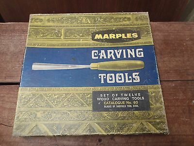 Vintage Marples Carving Chisel Set of 12, Cat No. 60, Made in England, Boxed, EC