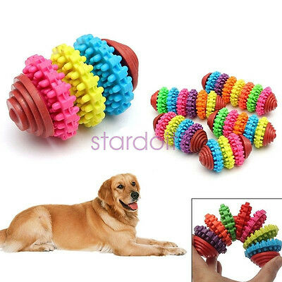 Durable Rubber Pet Dog Puppy Cat Dental Teething Healthy Teeth Gums Chew Toy
