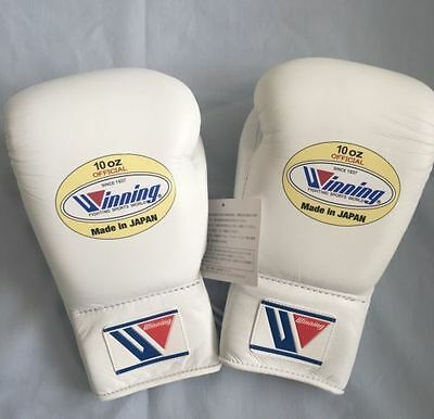 Winning Pro Boxing Gloves White , 8oz Lace-up Design New from Japan Genuine
