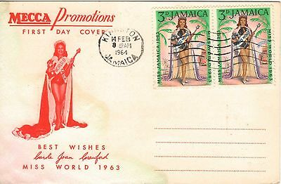 Jamaica:1964:Pair of 3d Miss World FDI,on Special 'MECCA',Postcard.