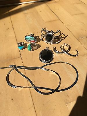Sterling 925 Silver Jewelry LOT Rings ~ Necklace ~ Cuff Bracelet Turquoise Onyx