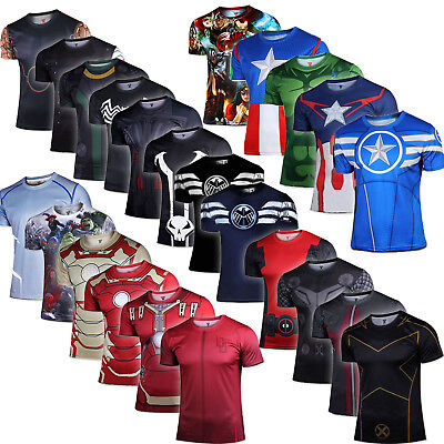 Superhero Marvel Compression Mens T-Shirt Short Sleeve Sports Gym Top Clothes AU