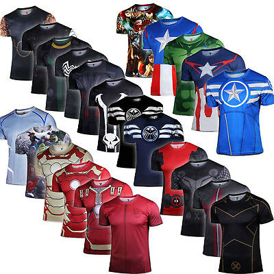 Superhero Marvel DC Compression Mens T-Shirt Short Sleeve Sports Gym Top Clothes