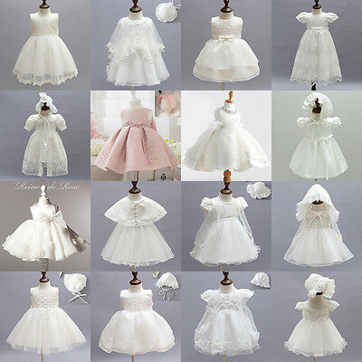 0-2Years Toddler Baby Girls Baptism Christening Gown Dresses Party Wedding Suits