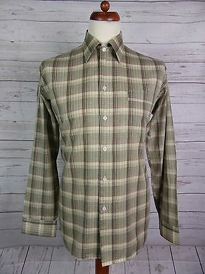 Mens Vtg L Sleeve Brown / Green Checked Shirt Indie Scooter -L- DP64