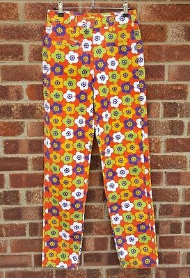 Vintage 90s 70s style flower power hippie floral print pepe jeans 10