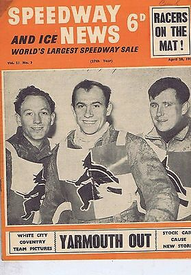 RONNIE MOORE WIMBLEDON / WHITE CITY & COVENTRY TEAMS	Speedway News 	Apr	28	1954