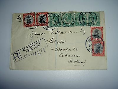 Swaziland Registered Cover - Mbabane to Aberdeen Scotland