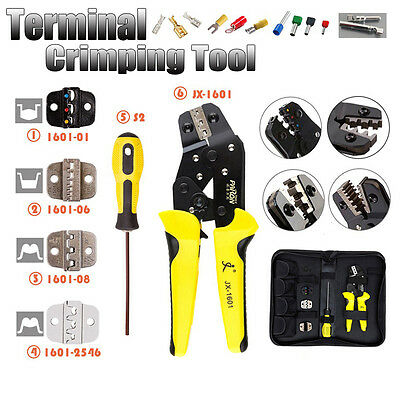 Crimping Tool Kit Set Cable Wire Stripper Pliers Ratchet & 4 Spare Dies