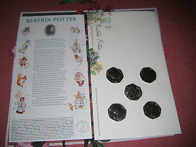 beatrix potter 50p complete set of new unc coins +1st day envelope @ story card,