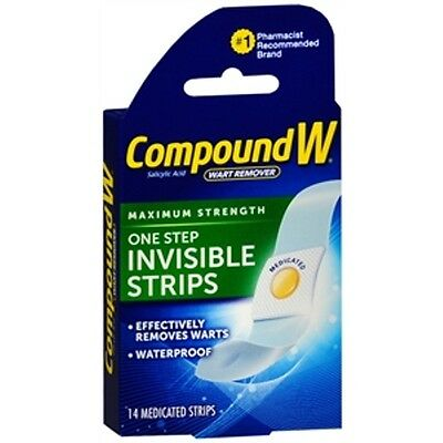 Compound W One Step 14 Invisible Medicated  Strips Wart Remover DISCREET DISCS