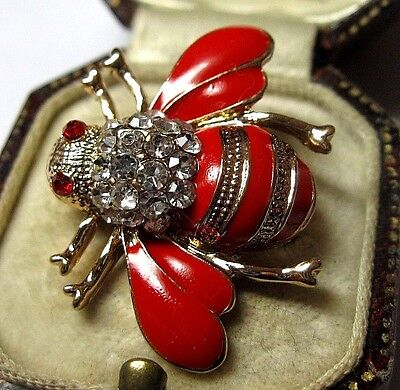 Sweet Vintage Style Vibrant Crystal Glass Enamel BUMBLE BEE Pin Jewellery BROOCH