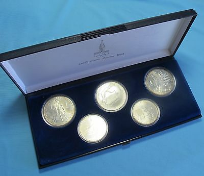 Set of 5 1980 USSR Soviet Moscow OLYMPICS Silver Coins 5 & 10 Roubles UNC Cond.