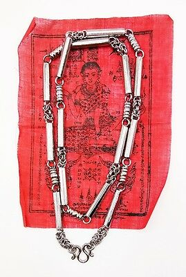 Thai Buddha Amulet Necklace Yant 5 Row Stainless Chain Hook Pendant Magic Spel