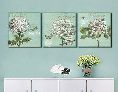 Home Wall Decor 3pc Canvas Print Art No Frame Abstract Retro Flower Oil Painting