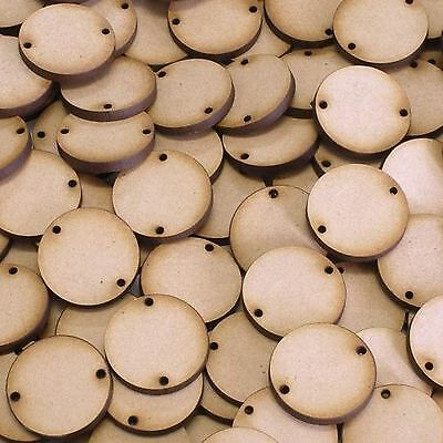 MDF Wooden Disk Circle Shapes With 2 Holes 3mm Thick Round Wood Base 10mm-75mm