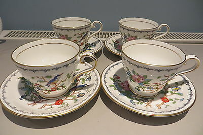 Four Aynsley Pembroke Tea Cups And Saucers Super Condition Free Uk P&p
