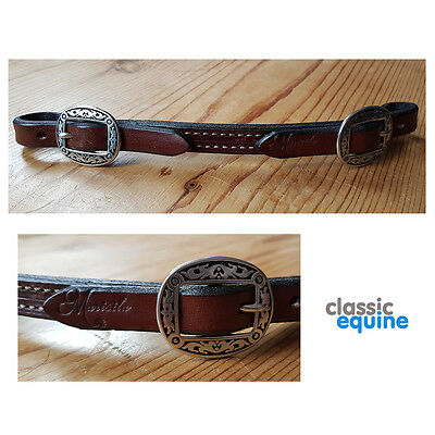 Marisita Western Chin Strap - Dark Leather Oval Buckle