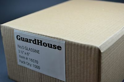 """lot of 1000 - # 5 GLASSINE ENVELOPES 3 1/2 x 6"""" GUARDHOUSE STAMP COLLECTING"""