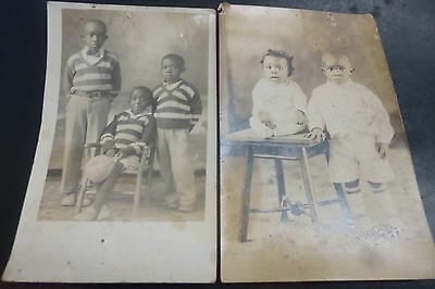 2 Vintage Black Americana Postcards Handsome Young Men And Two Very young Kids