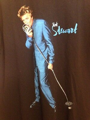 "VTG ROD STEWART ""ALL ROD ALL NIGHT"" Concert Tour Tee T-Shirt Large 1991 Black"