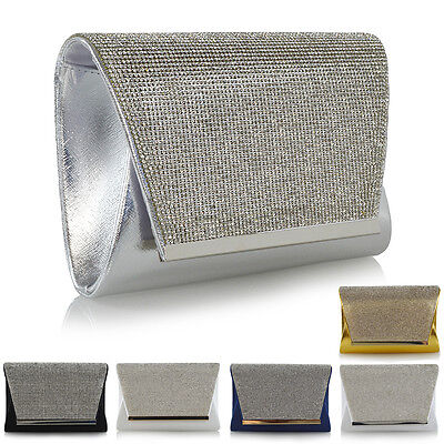 Womens Clutch Bag Diamante Bridal Prom Party Evening Sparkly Crystal Handbag UK