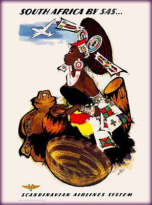 South Africa Native Woman by SAS Vintage African Travel Advertisement Poster