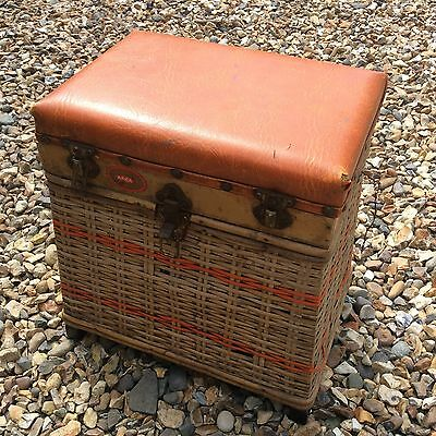 Arca Eurofish Vintage Fishing Box Stool Creel Wicker Woven Basket
