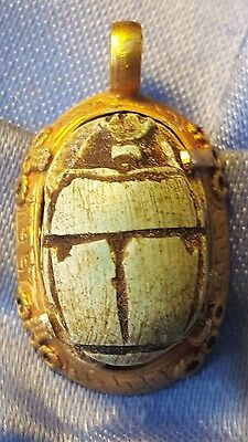 solid gold pendant with Egyptian blue beetle insert