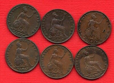 1839 1840 1843 1847 1848 1853 QUEEN VICTORIA FARTHING COINS. 6 X 1/4d.