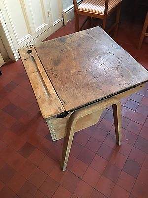 Vintage Wooden School Desk With Ink Well Hole & Lift Up Storage