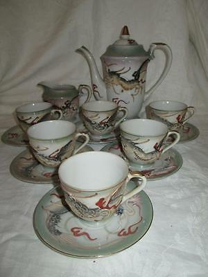 VINTAGE JAPANESE RAISED DRAGONWARE MORIAGE GEISHA TEA SET 14pc