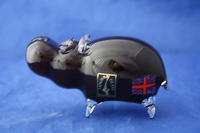 Langham Glass Hand-Made Crystal Small Brown Hippo - New & Boxed
